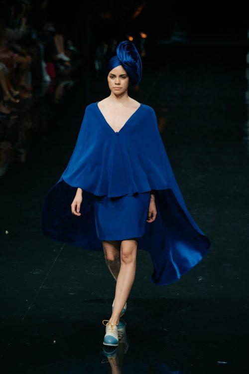 Conjunto falda recta azulón